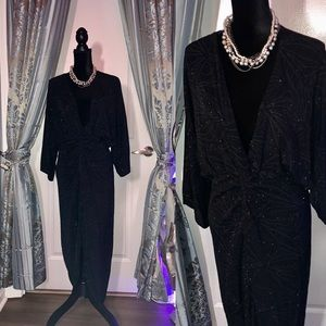 ❤️ Black & Silver Sparkling Deep V Gown Sz XL